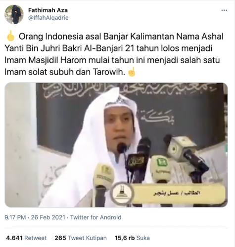 [Cek Fakta] Orang Indonesia Jadi Imam Masjidil Haram? Ini Faktanya