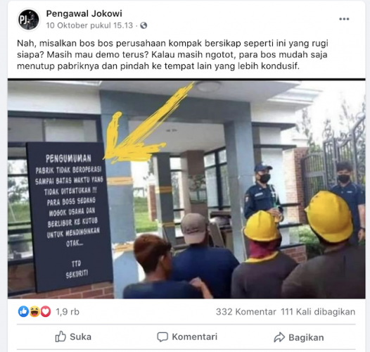 [Cek Fakta] Pabrik Ini tak Beroperasi karena Para Bos Mogok Usaha? Cek Faktanya