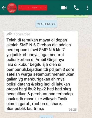 [Cek Fakta] Penemuan Mayat Siswi di Depan SMPN 6 Cirebon Tanpa Ginjal? Ini Faktanya