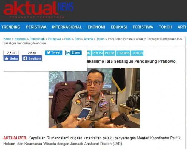 [Cek Fakta] Penusuk Wiranto Pendukung Prabowo?