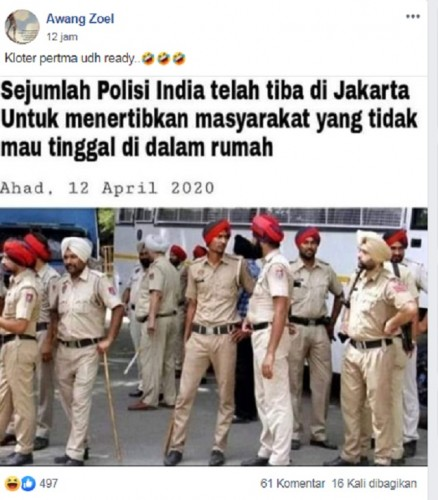 [Cek Fakta] Polisi India Bawa Pentungan Tiba di Jakarta untuk Tertibkan Warga yang Enggan di Rumah? Ini Faktanya