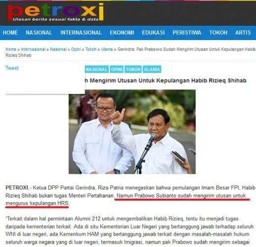 [Cek Fakta] Prabowo Kirim Utusan Jemput Rizieq Shihab?