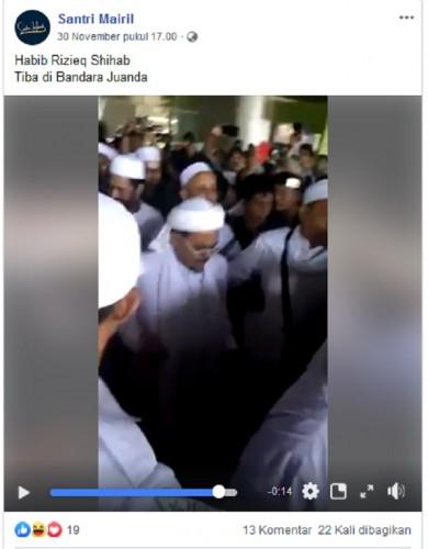[Cek Fakta] Rizieq Shihab Tiba di Bandara Juanda
