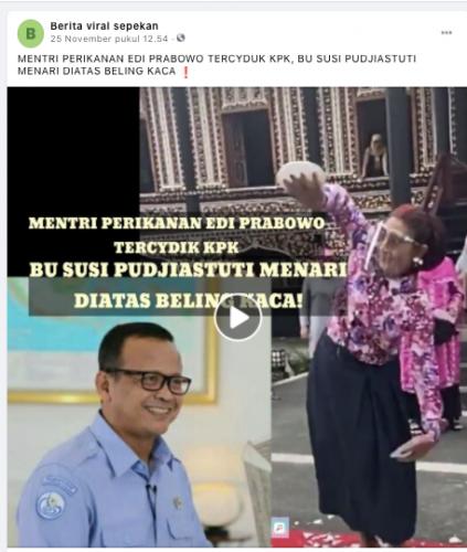 [Cek Fakta] Susi Pudjiastuti Menari di Atas Pecahan Beling Usai Edhy Prabowo Diciduk KPK? Cek Faktanya