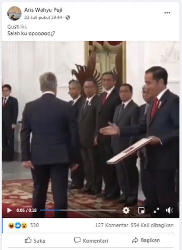 [Cek Fakta] Video Jokowi Ingin Berjabat Tangan tapi Diabaikan Seorang Pejabat? Ini Faktanya