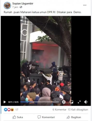 [Cek Fakta] Video Rumah Puan Maharani Dibakar Pedemo? Ini Faktanya