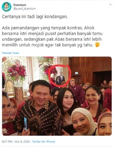 [Cek Fakta] Viral Foto Ahok Dikerumuni Banyak Orang di Kondangan, sedangkan Anies Ngumpet? Ini Faktanya