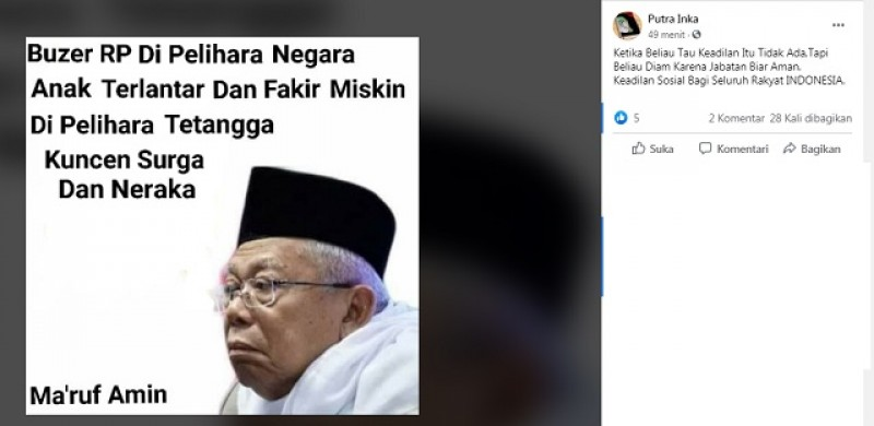 [Cek Fakta] Wapres Ma'ruf Amin Sebut Buzzer Dipelihara Negara? Ini Faktanya