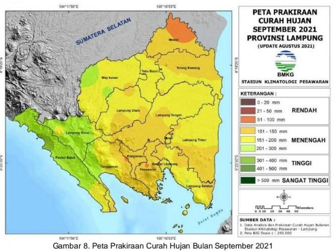 Curah Hujan dan Ketersediaan Air di Lampung Periode September-November Normal