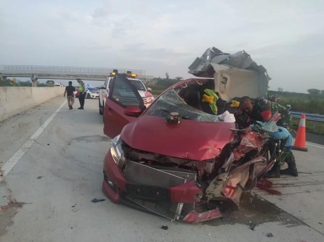 Danposramil Batang Cenaku Riau Alami Kecelakaan di JTTS Km 82