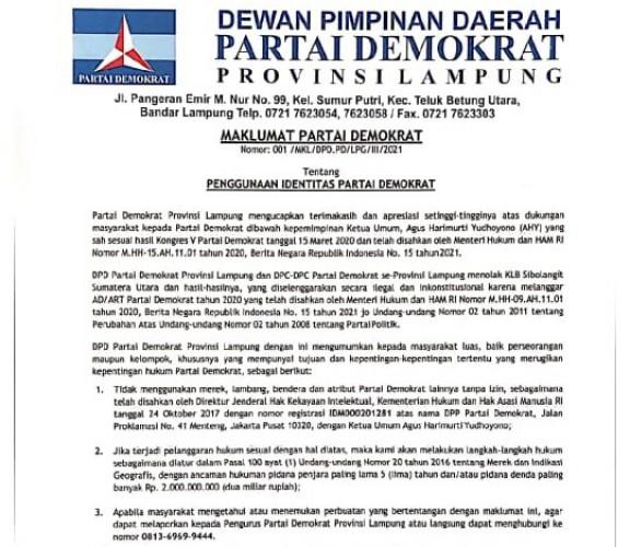 Demokrat Lampung Larang Penggunaan Atribut Partai