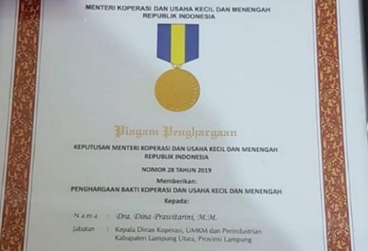 Dinas Koperasi dan UMKM Lampura Dapat Penghargaan Tingkat Nasional