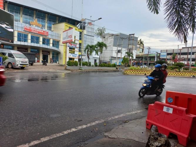 Dishub Bandar Lampung Sekat Sentra UMKM di Jalan Gatot Subroto