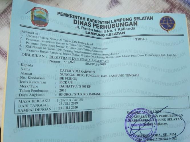 Dishub Tulangbawang Diduga Palsukan Dua Surat Registrasi
