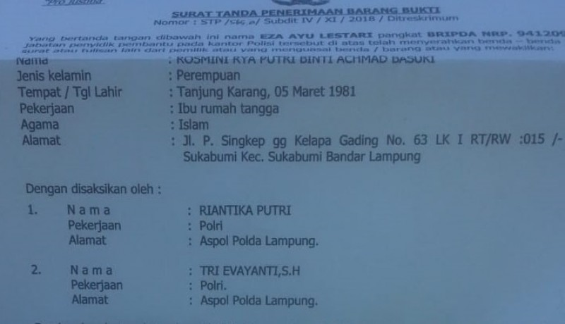 Ditelantarkan Suami, Wanita Ini Lapor ke Polda Lampung