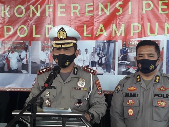 Ditlantas Polda Lampung Sosialisasikan Prokes Selama Operasi Zebra Krakatau