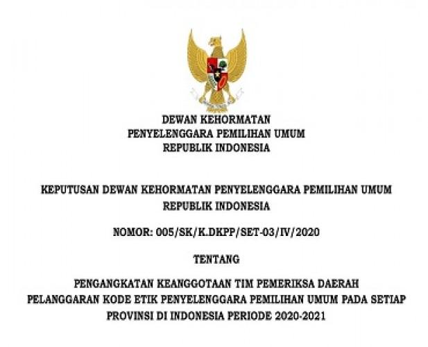 DKPP Angkat 6 Anggota Tim Pemeriksa Daerah Lampung