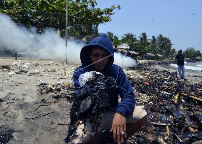 DLH Lamsel Sebut Pesisir Pantai Tercemar Kotoran Hitam Diduga Aspal
