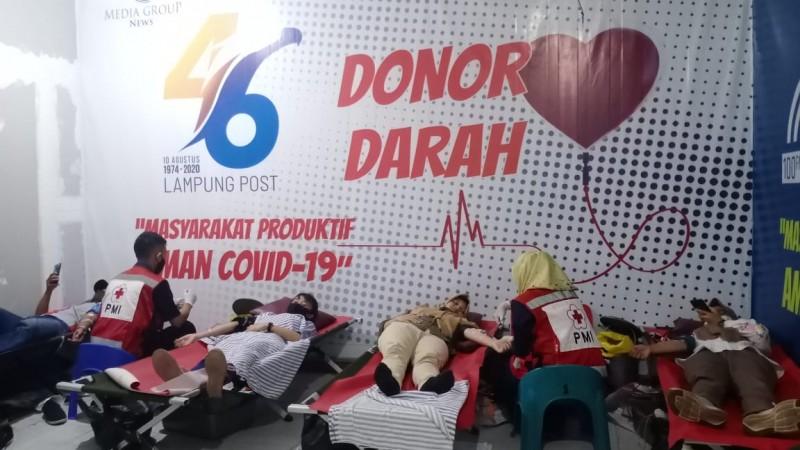 Donor Darah HUT Ke-46 Lampung Post Kumpulkan 46Kantong