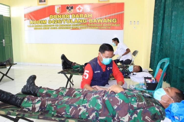 Donor Darah Kodim 0426 Tulangbawang Kumpulkan 41 Kantong