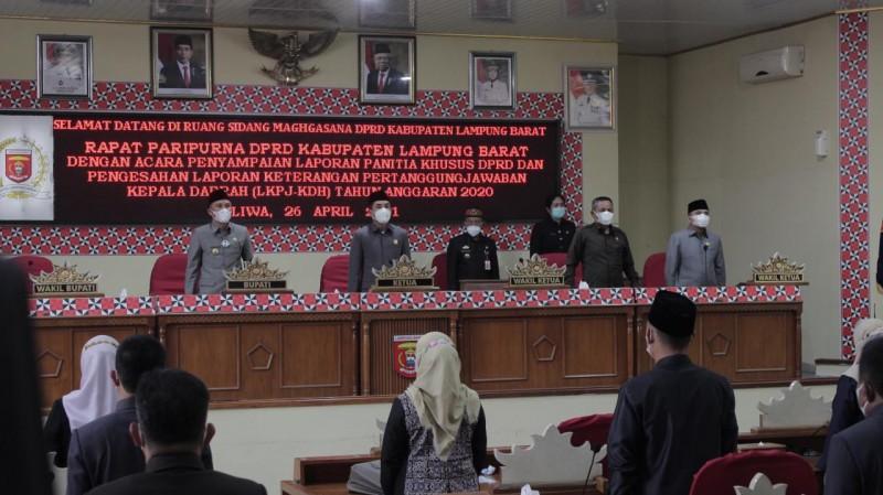 DPRD Lampung Barat Gelar Paripurna LKPJ-KDH 2020