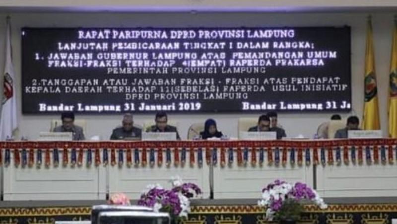 DPRD Lampung Gelar Paripurna 11 Raperda Usul Inisiatif