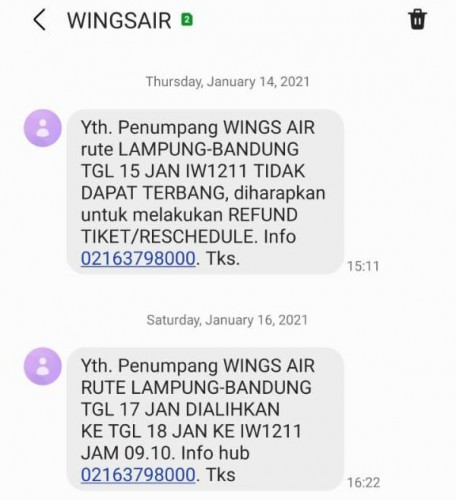 Dua Kali Batal Terbang, Penumpang Wings Air Merugi