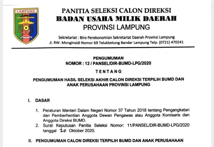 Enam Orang Terpilih di Jajaran Direksi BUMD Lampung