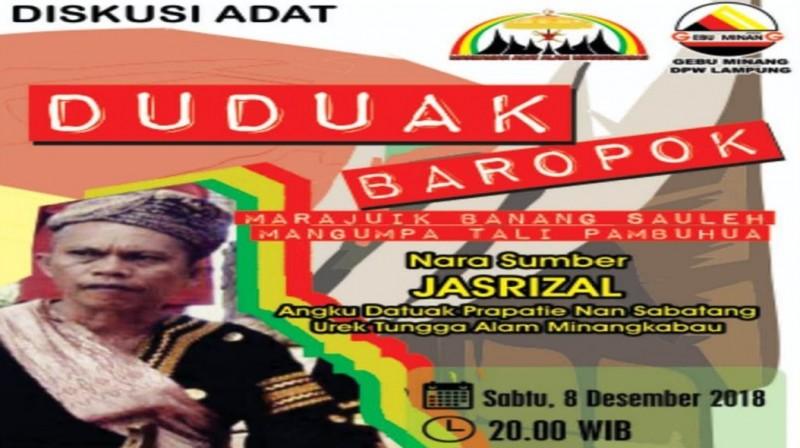 Gebu Minang Lampung Gelar Forum Diskusi Adat Duduak Baropok