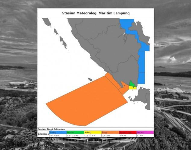 Gelombang Setinggi 6 Meter Masih Ancam Pesisir Lampung