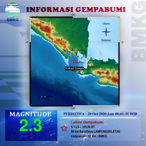 Gempa 2,3 Magnitudo Guncang Lampung Selatan