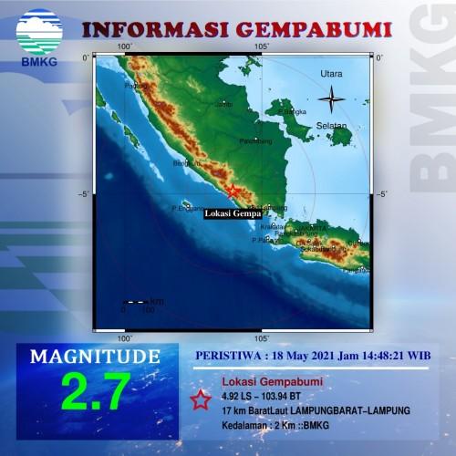 Gempa 2,7 Mag Guncang Lampung Barat
