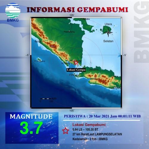 Gempa 3.7 Magnitudo Guncang Lampung Selatan