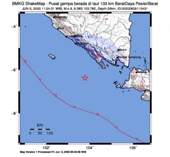 Gempa 4,9 Magnitudo di Pesisir Barat Terasa Hingga Liwa