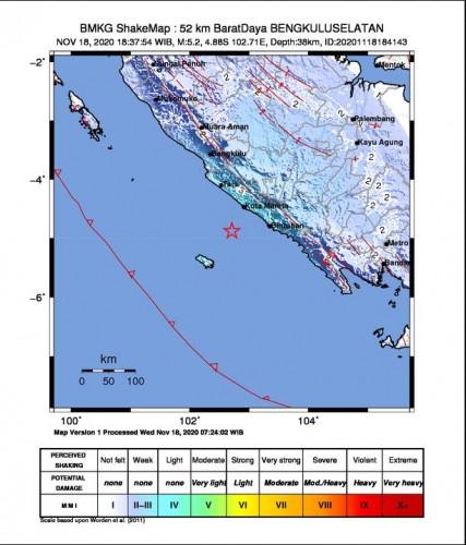 Gempa 5,2 Magnitudo Guncang Pantai Barat Sumatera