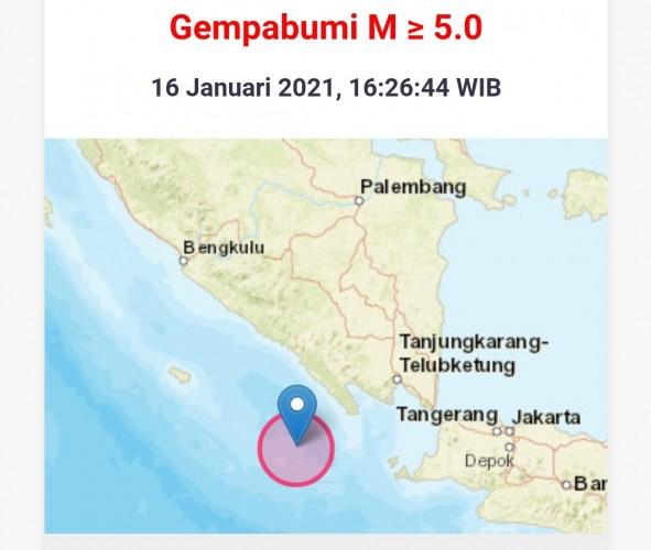 Gempa 5,4 Magnitudo Guncang Pesisir Barat Lampung