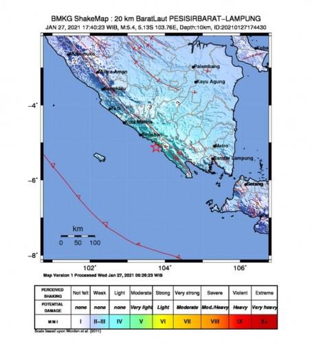 Gempa 5,4 Magnitudo Guncang Pesisir Barat