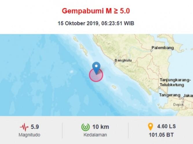 Gempa 5,9 SR Hantam Bengkulu