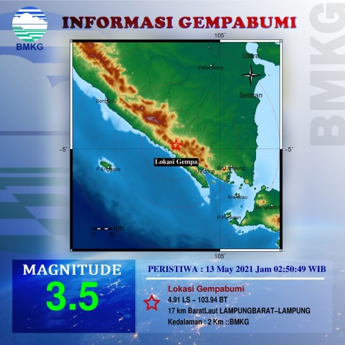 Gempa Magnitudo 3,5 Guncang Lampung Barat
