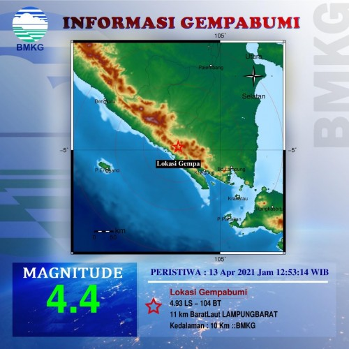 Gempa Magnitudo 4,4 Guncang Lampung Barat