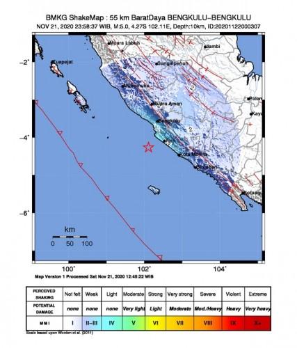 Gempa Tektonik Bermagnitudo 5,0 di Bengkulu Tidak Berpotensi Tsunami
