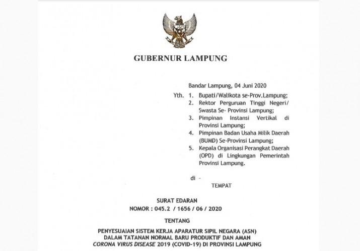 Gubernur Lampung Keluarkan SE Penyesuian Kerja ASN di Era New Normal