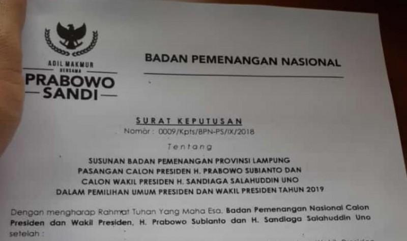Gunadi Nahkodai Badan Pemenangan Prabowo - Sandi Lampung