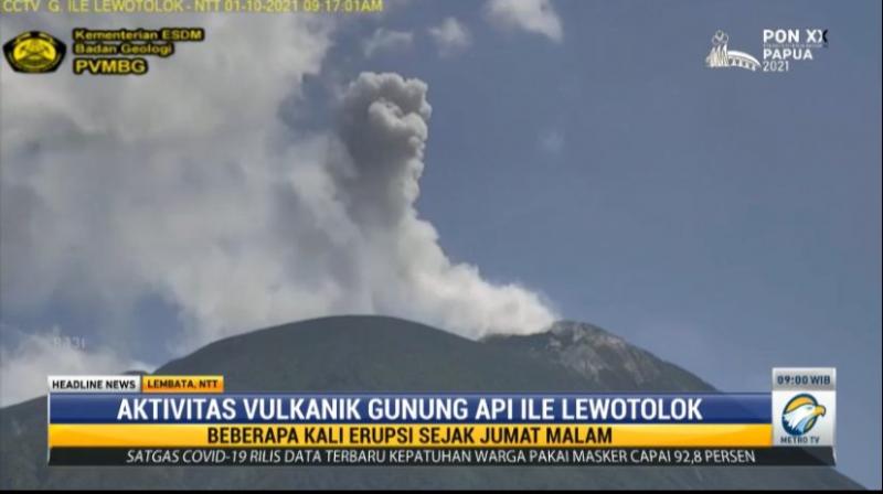 Gunung Ile Lewotolok di NTT Kembali Erupsi