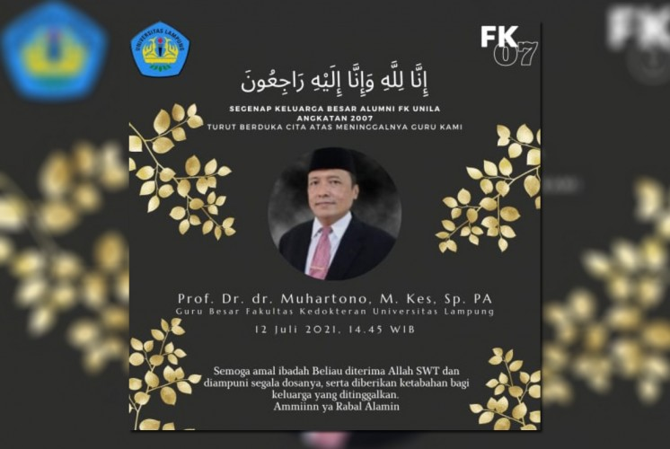 Guru Besar Unila Prof Muhartono Tutup Usia