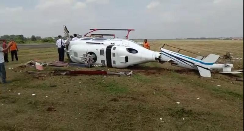 Helikopter Kemenhub Tergelincir di Bandara Budiarto Tangerang