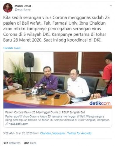 Hoaks, 25 Pasien Virus Korona Meninggal di Bali