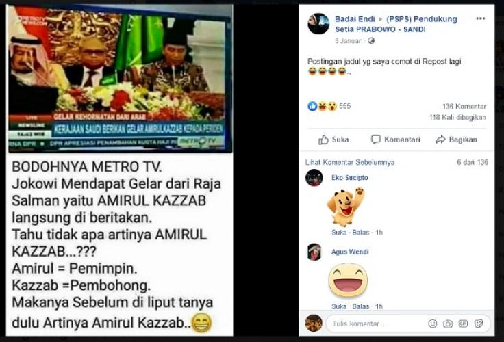Hoaks, Arab Menggelari Jokowi <i>Amirul Kazzab</i> alias Pemimpin Pembohong