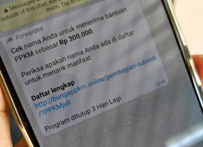 Hoaks Bantuan PPKM Rp300 Ribu Beredar di WhatsApp