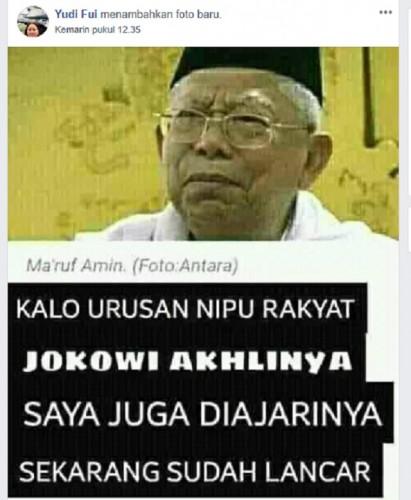 Hoaks, Ma`ruf Amin Sebut Jokowi Jago Menipu